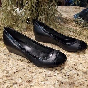 COLE HAAN Black Leather Elsie Cap Toe Wedge Shoes